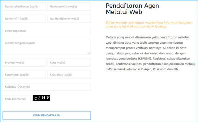 pendaftaran agen pulsa gratis melalui web
